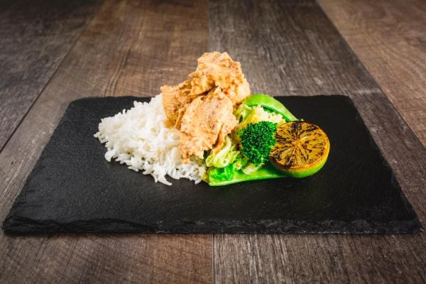 Satay Chicken Breast with Chipotle, Lime Greens and White Rice - 450
